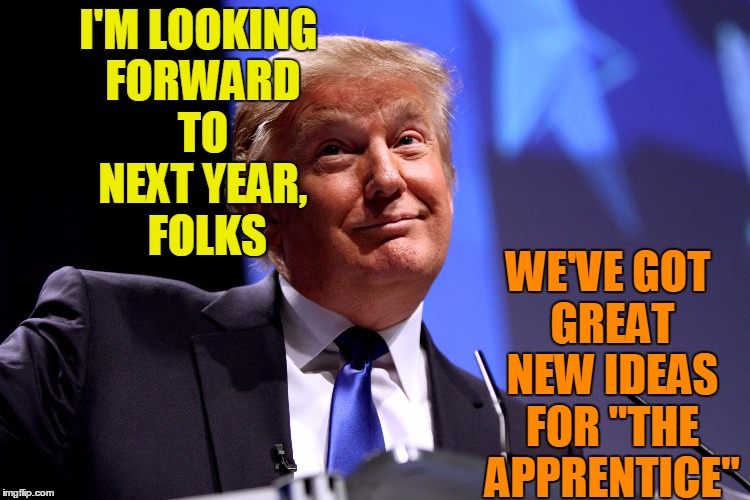 "DONALD'S PLANNING AHEAD |  I'M LOOKING FORWARD TO NEXT YEAR,  FOLKS; WE'VE GOT GREAT NEW IDEAS FOR ""THE APPRENTICE"" 