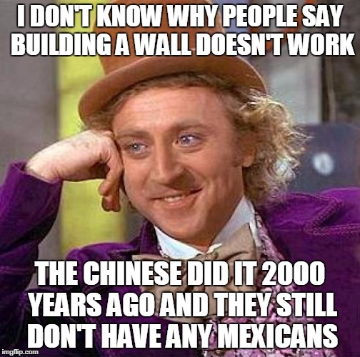 Creepy Condescending Wonka Meme | I DON'T KNOW WHY PEOPLE SAY BUILDING A WALL DOESN'T WORK THE CHINESE DID IT 2000 YEARS AGO AND THEY STILL DON'T HAVE ANY MEXICANS | image tagged in memes,creepy condescending wonka | made w/ Imgflip meme maker