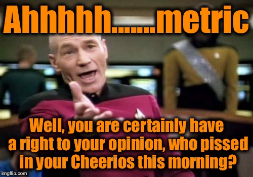 Picard Wtf Meme | Ahhhhh.......metric Well, you are certainly have a right to your opinion, who pissed in your Cheerios this morning? | image tagged in memes,picard wtf | made w/ Imgflip meme maker