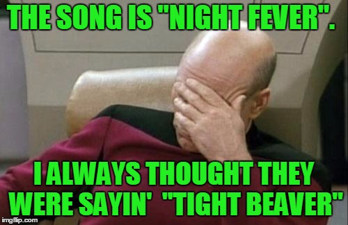 "Captain Picard Facepalm Meme | THE SONG IS ""NIGHT FEVER"". I ALWAYS THOUGHT THEY WERE SAYIN'  ""TIGHT BEAVER"" 