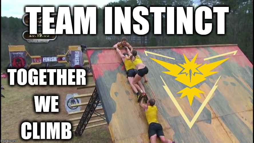 Team Instinct: Together We Climb | TEAM INSTINCT TOGETHER WE CLIMB | image tagged in spartan race team instinct,pokemon go,teamwork,spartan,instinct,climb | made w/ Imgflip meme maker
