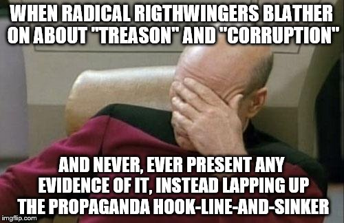 "Captain Picard Facepalm Meme | WHEN RADICAL RIGTHWINGERS BLATHER ON ABOUT ""TREASON"" AND ""CORRUPTION"" AND NEVER, EVER PRESENT ANY EVIDENCE OF IT, INSTEAD LAPPING UP THE PRO 