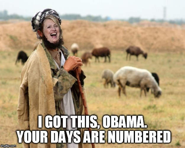 Hillary Sheep Herder | I GOT THIS, OBAMA. YOUR DAYS ARE NUMBERED | image tagged in hillary sheep herder | made w/ Imgflip meme maker