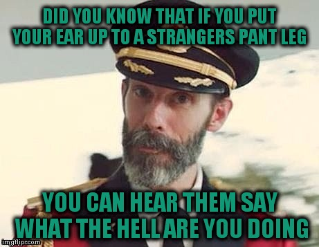 Captain Obvious |  DID YOU KNOW THAT IF YOU PUT YOUR EAR UP TO A STRANGERS PANT LEG; YOU CAN HEAR THEM SAY WHAT THE HELL ARE YOU DOING | image tagged in captain obvious | made w/ Imgflip meme maker