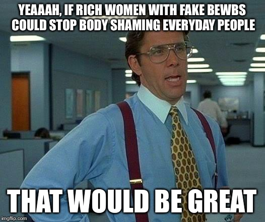That Would Be Great Meme | YEAAAH, IF RICH WOMEN WITH FAKE BEWBS COULD STOP BODY SHAMING EVERYDAY PEOPLE THAT WOULD BE GREAT | image tagged in memes,that would be great | made w/ Imgflip meme maker