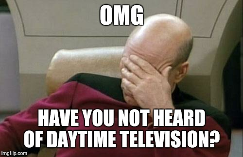 Captain Picard Facepalm Meme | OMG HAVE YOU NOT HEARD OF DAYTIME TELEVISION? | image tagged in memes,captain picard facepalm | made w/ Imgflip meme maker