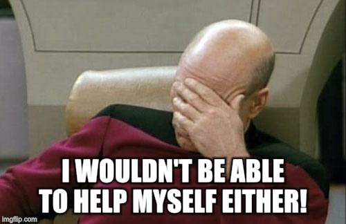 Captain Picard Facepalm Meme | I WOULDN'T BE ABLE TO HELP MYSELF EITHER! | image tagged in memes,captain picard facepalm | made w/ Imgflip meme maker