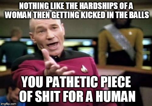Picard Wtf Meme | NOTHING LIKE THE HARDSHIPS OF A WOMAN THEN GETTING KICKED IN THE BALLS YOU PATHETIC PIECE OF SHIT FOR A HUMAN | image tagged in memes,picard wtf | made w/ Imgflip meme maker