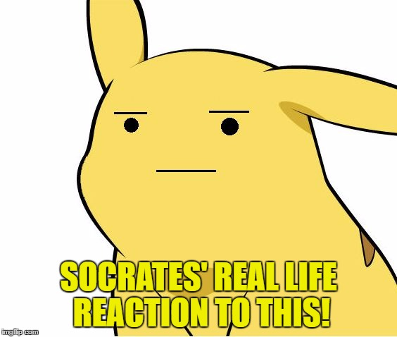 Pikachu Is Not Amused | SOCRATES' REAL LIFE REACTION TO THIS! | image tagged in pikachu is not amused | made w/ Imgflip meme maker