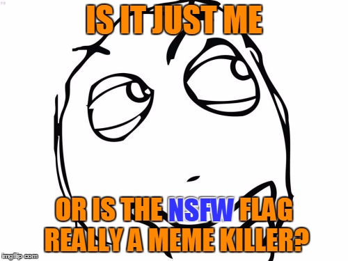 Meme Killer? |  IS IT JUST ME; OR IS THE NSFW FLAG REALLY A MEME KILLER? NSFW | image tagged in memes,question rage face | made w/ Imgflip meme maker