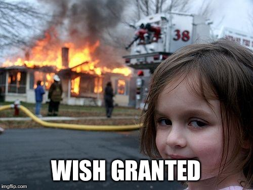 Disaster Girl Meme | WISH GRANTED | image tagged in memes,disaster girl | made w/ Imgflip meme maker