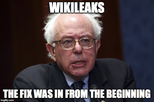 Bernie Sanders |  WIKILEAKS; THE FIX WAS IN FROM THE BEGINNING | image tagged in bernie sanders | made w/ Imgflip meme maker