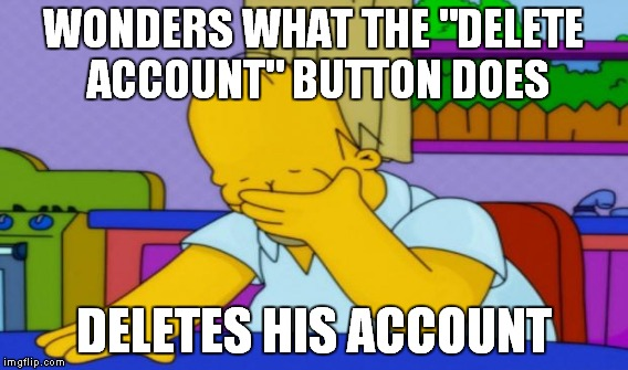 "WONDERS WHAT THE ""DELETE ACCOUNT"" BUTTON DOES DELETES HIS ACCOUNT 