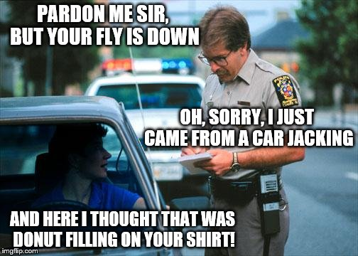 Officer Ticket | PARDON ME SIR, BUT YOUR FLY IS DOWN AND HERE I THOUGHT THAT WAS DONUT FILLING ON YOUR SHIRT! OH, SORRY, I JUST CAME FROM A CAR JACKING | image tagged in officer ticket | made w/ Imgflip meme maker