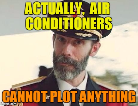 Captain Obvious | ACTUALLY,  AIR CONDITIONERS CANNOT PLOT ANYTHING | image tagged in captain obvious | made w/ Imgflip meme maker