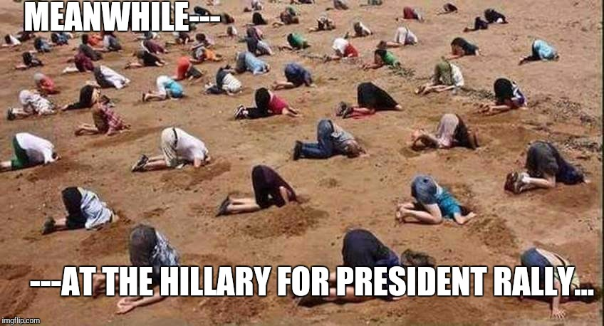 Hillary Clinton | MEANWHILE--- ---AT THE HILLARY FOR PRESIDENT RALLY... | image tagged in hillary clinton | made w/ Imgflip meme maker