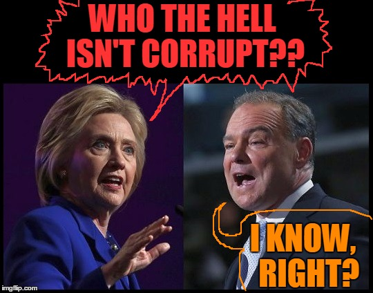 WHO THE HELL ISN'T CORRUPT?? I KNOW,  RIGHT? | image tagged in hill and kaine | made w/ Imgflip meme maker