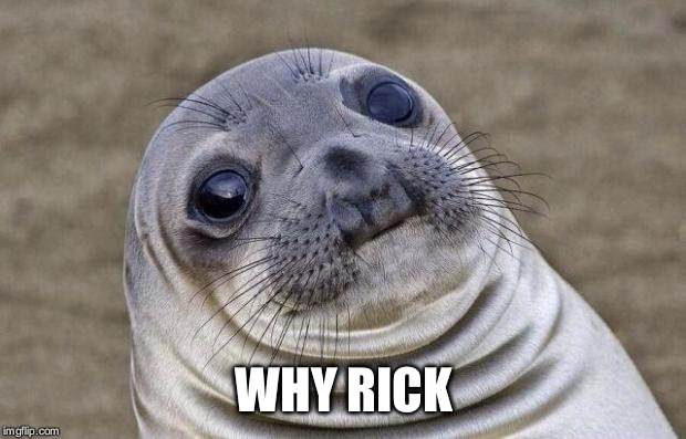 Awkward Moment Sealion Meme | WHY RICK | image tagged in memes,awkward moment sealion | made w/ Imgflip meme maker