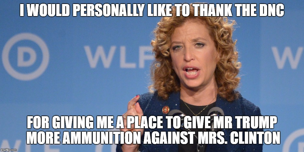 DNC Chair |  I WOULD PERSONALLY LIKE TO THANK THE DNC; FOR GIVING ME A PLACE TO GIVE MR TRUMP MORE AMMUNITION AGAINST MRS. CLINTON | image tagged in dnc chair | made w/ Imgflip meme maker