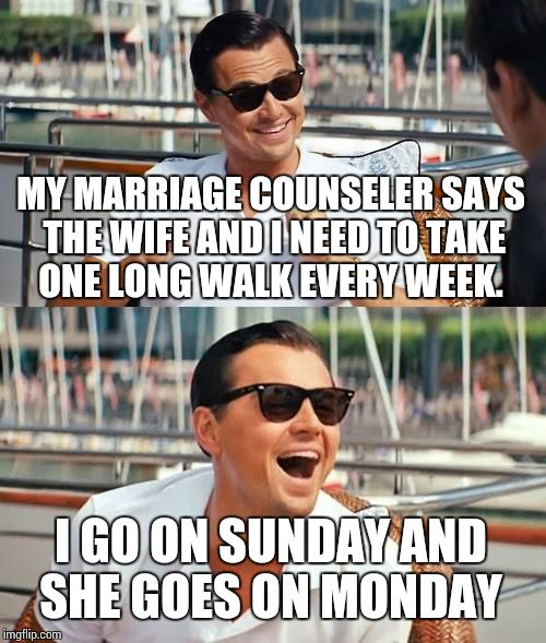 Leonardo Dicaprio Wolf Of Wall Street Meme | MY MARRIAGE COUNSELER SAYS THE WIFE AND I NEED TO TAKE ONE LONG WALK EVERY WEEK. I GO ON SUNDAY AND SHE GOES ON MONDAY | image tagged in memes,leonardo dicaprio wolf of wall street | made w/ Imgflip meme maker
