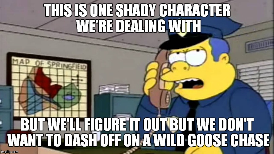 THIS IS ONE SHADY CHARACTER WE'RE DEALING WITH BUT WE'LL FIGURE IT OUT BUT WE DON'T WANT TO DASH OFF ON A WILD GOOSE CHASE | made w/ Imgflip meme maker