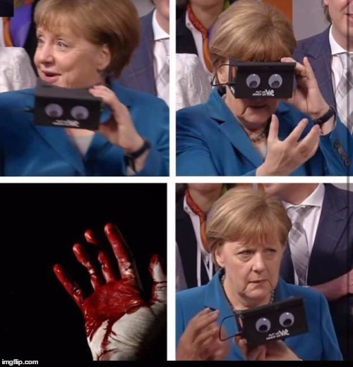 Angela Merkel. Four Attacks in Seven Days. | image tagged in blood on her hands | made w/ Imgflip meme maker
