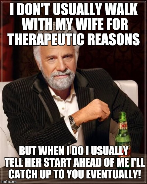 The Most Interesting Man In The World Meme | I DON'T USUALLY WALK WITH MY WIFE FOR THERAPEUTIC REASONS BUT WHEN I DO I USUALLY TELL HER START AHEAD OF ME I'LL CATCH UP TO YOU EVENTUALLY | image tagged in memes,the most interesting man in the world | made w/ Imgflip meme maker