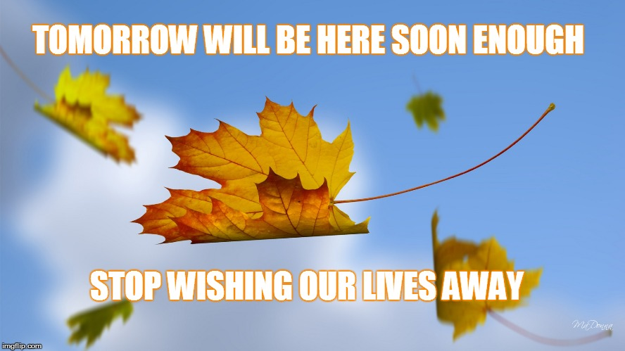 stop wishing our lives away | TOMORROW WILL BE HERE SOON ENOUGH STOP WISHING OUR LIVES AWAY | image tagged in life,stop wishing our lives,stop thinking about tomorrow,life is short enough,time flies | made w/ Imgflip meme maker