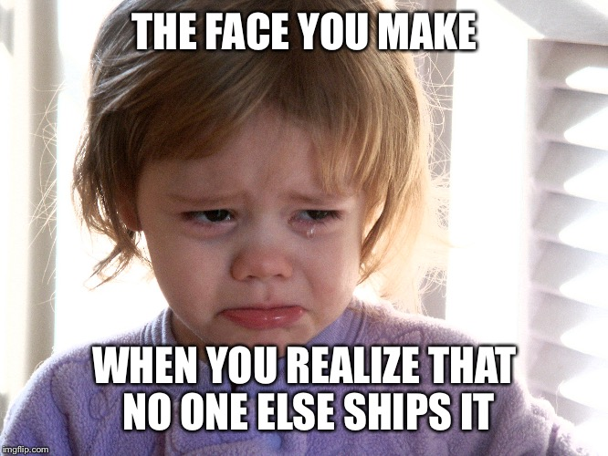 Shippers gonna ship | THE FACE YOU MAKE WHEN YOU REALIZE THAT NO ONE ELSE SHIPS IT | image tagged in crying,shipping,fandoms,the struggle is real | made w/ Imgflip meme maker