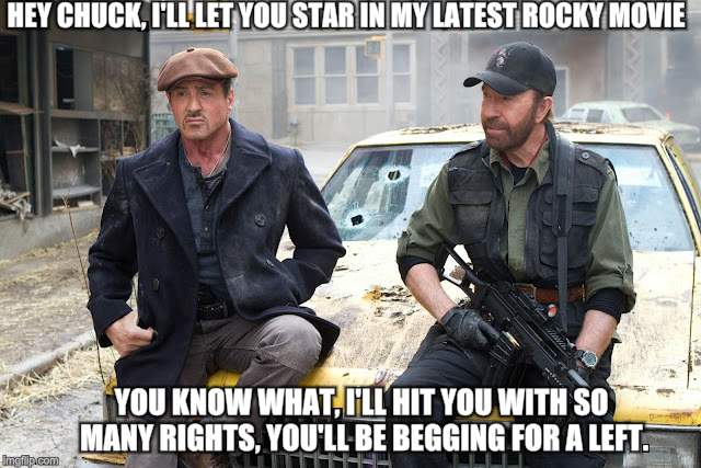 Note To Self; Never cast Chuck Norris in a movie when he has the opportunity to beat the crap out of you. | HEY CHUCK, I'LL LET YOU STAR IN MY LATEST ROCKY MOVIE YOU KNOW WHAT, I'LL HIT YOU WITH SO MANY RIGHTS, YOU'LL BE BEGGING FOR A LEFT. | image tagged in chuck norris,funny memes,sylvester stallone | made w/ Imgflip meme maker