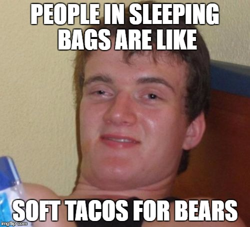 10 Guy Meme | PEOPLE IN SLEEPING BAGS ARE LIKE SOFT TACOS FOR BEARS | image tagged in memes,10 guy | made w/ Imgflip meme maker