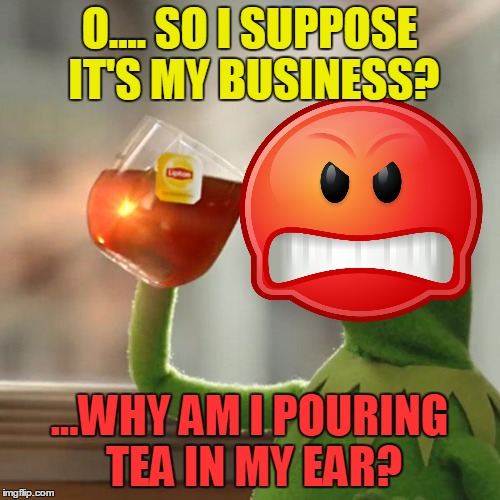 O.... SO I SUPPOSE IT'S MY BUSINESS? ...WHY AM I POURING TEA IN MY EAR? | made w/ Imgflip meme maker