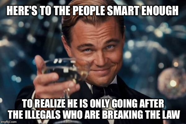 Leonardo Dicaprio Cheers Meme | HERE'S TO THE PEOPLE SMART ENOUGH TO REALIZE HE IS ONLY GOING AFTER THE ILLEGALS WHO ARE BREAKING THE LAW | image tagged in memes,leonardo dicaprio cheers | made w/ Imgflip meme maker