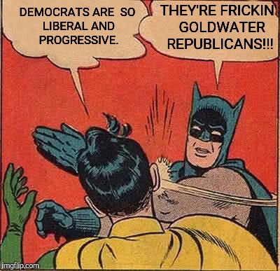 Batman Slapping Robin Meme | THEY'RE FRICKIN'  GOLDWATER REPUBLICANS!!! DEMOCRATS ARE  SO LIBERAL AND PROGRESSIVE. | image tagged in memes,batman slapping robin | made w/ Imgflip meme maker