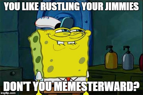 Dont You Squidward Meme | YOU LIKE RUSTLING YOUR JIMMIES DON'T YOU MEMESTERWARD? | image tagged in memes,dont you squidward | made w/ Imgflip meme maker
