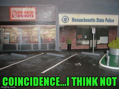It looks like the police station closed, I wonder if it was due to obesity!!! |  COINCIDENCE...I THINK NOT | image tagged in cops and donuts,memes,funny,dunkin donuts | made w/ Imgflip meme maker