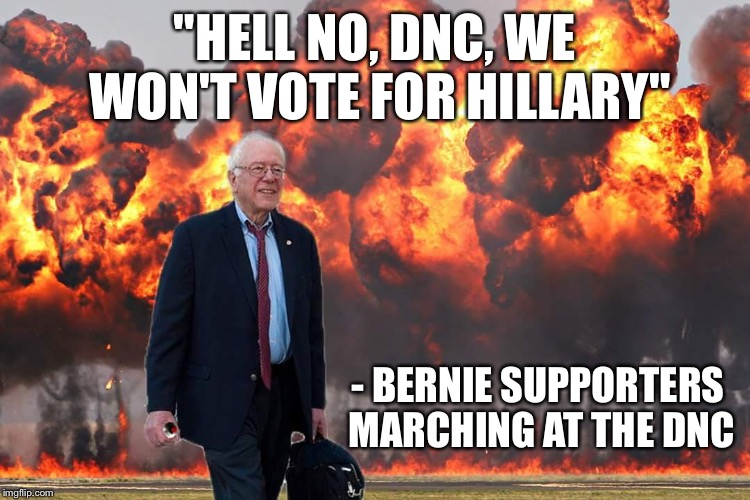 "Where there is Corruption, there is Pushback | ""HELL NO, DNC, WE WON'T VOTE FOR HILLARY"" - BERNIE SUPPORTERS MARCHING AT THE DNC 