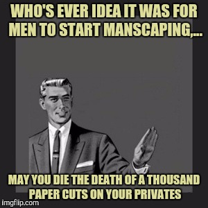 I don't know when or who, but I'm thinkin feminazis may be involved. | WHO'S EVER IDEA IT WAS FOR MEN TO START MANSCAPING,... MAY YOU DIE THE DEATH OF A THOUSAND PAPER CUTS ON YOUR PRIVATES | image tagged in memes,kill yourself guy,sewmyeyesshut | made w/ Imgflip meme maker