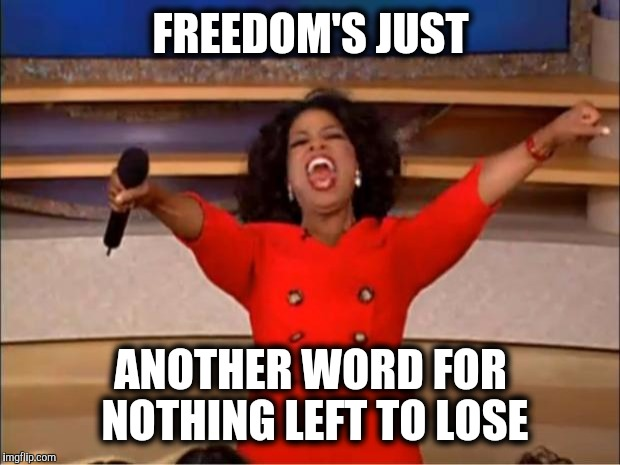Oprah You Get A Meme | FREEDOM'S JUST ANOTHER WORD FOR NOTHING LEFT TO LOSE | image tagged in memes,oprah you get a | made w/ Imgflip meme maker