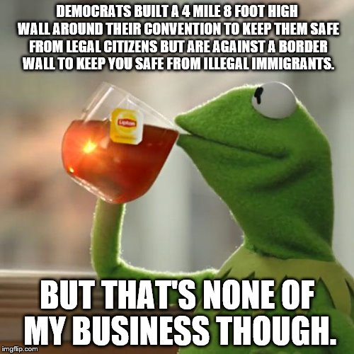 Democrat Border Wall | DEMOCRATS BUILT A 4 MILE 8 FOOT HIGH WALL AROUND THEIR CONVENTION TO KEEP THEM SAFE FROM LEGAL CITIZENS BUT ARE AGAINST A BORDER WALL TO KEE | image tagged in memes,but thats none of my business,kermit the frog,fence aka border wall,democratic convention,illegal immigrant | made w/ Imgflip meme maker
