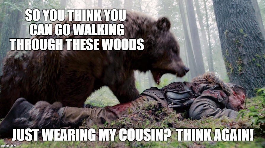 SO YOU THINK YOU CAN GO WALKING THROUGH THESE WOODS JUST WEARING MY COUSIN?  THINK AGAIN! | made w/ Imgflip meme maker