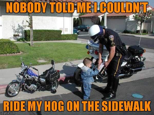 NOBODY TOLD ME I COULDN'T RIDE MY HOG ON THE SIDEWALK | made w/ Imgflip meme maker