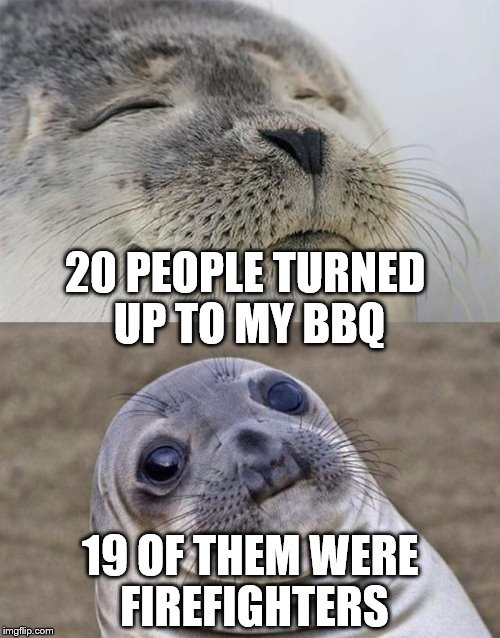 It was a blast :) | 20 PEOPLE TURNED UP TO MY BBQ 19 OF THEM WERE FIREFIGHTERS | image tagged in memes,short satisfaction vs truth,bbq,firefighters,summer,food | made w/ Imgflip meme maker