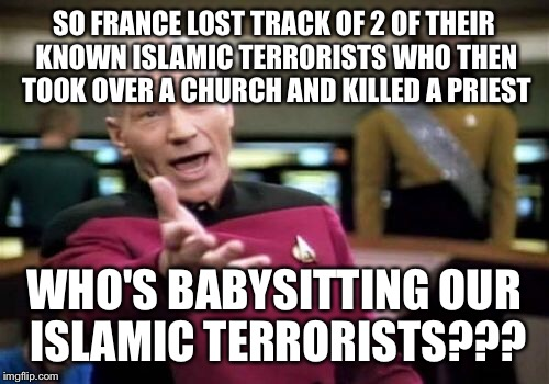 Everybody has Islamic terrorists it's time we hired some really vigilant babysitters. I would go with grandpas they take no crap |  SO FRANCE LOST TRACK OF 2 OF THEIR KNOWN ISLAMIC TERRORISTS WHO THEN TOOK OVER A CHURCH AND KILLED A PRIEST; WHO'S BABYSITTING OUR ISLAMIC TERRORISTS??? | image tagged in memes,picard wtf,terrorism,grandpa,babysitter | made w/ Imgflip meme maker