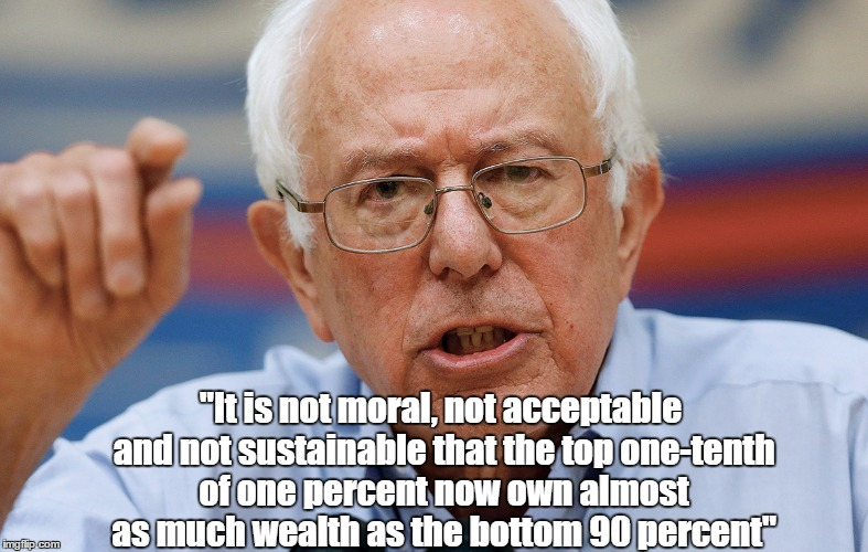 """It is not moral, not acceptable and not sustainable that the top one-tenth of one percent now own almost as much wealth as the bottom 90 pe 