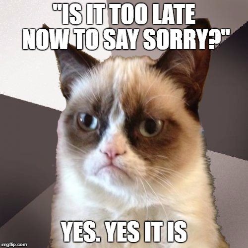 "Musically Malicious Grumpy Cat | ""IS IT TOO LATE NOW TO SAY SORRY?"" YES. YES IT IS 