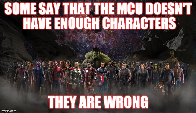 TOO MANY SUPERS | SOME SAY THAT THE MCU DOESN'T HAVE ENOUGH CHARACTERS THEY ARE WRONG | image tagged in marvel,mcu,avengers,infinity war | made w/ Imgflip meme maker