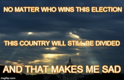 Divided we will fall, united we will stand |  NO MATTER WHO WINS THIS ELECTION; THIS COUNTRY WILL STILL BE DIVIDED; AND THAT MAKES ME SAD | image tagged in divided,divided we will fall,united we will stand | made w/ Imgflip meme maker