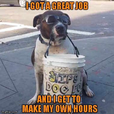 I GOT A GREAT JOB AND I GET TO MAKE MY OWN HOURS | made w/ Imgflip meme maker