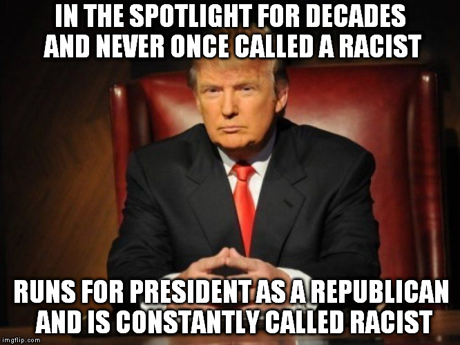 donald trump | IN THE SPOTLIGHT FOR DECADES AND NEVER ONCE CALLED A RACIST RUNS FOR PRESIDENT AS A REPUBLICAN AND IS CONSTANTLY CALLED RACIST | image tagged in donald trump | made w/ Imgflip meme maker